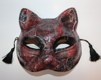 Cat mask with karate, dragon, and tiger design