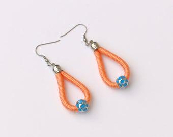Peach Statement Earrings, Rope Earrings, Boho Earrings, Beaded Drop Earrings, Gift For Her, Fabric Earrings, Textile Earrings