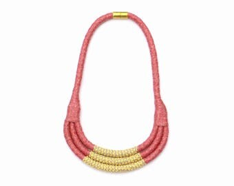 Bib Necklace, One Of A Kind Necklace, Fiber Art Necklace, Modern Textile Necklace, Unique Necklace, Statement Necklace, Fabric Jewelry