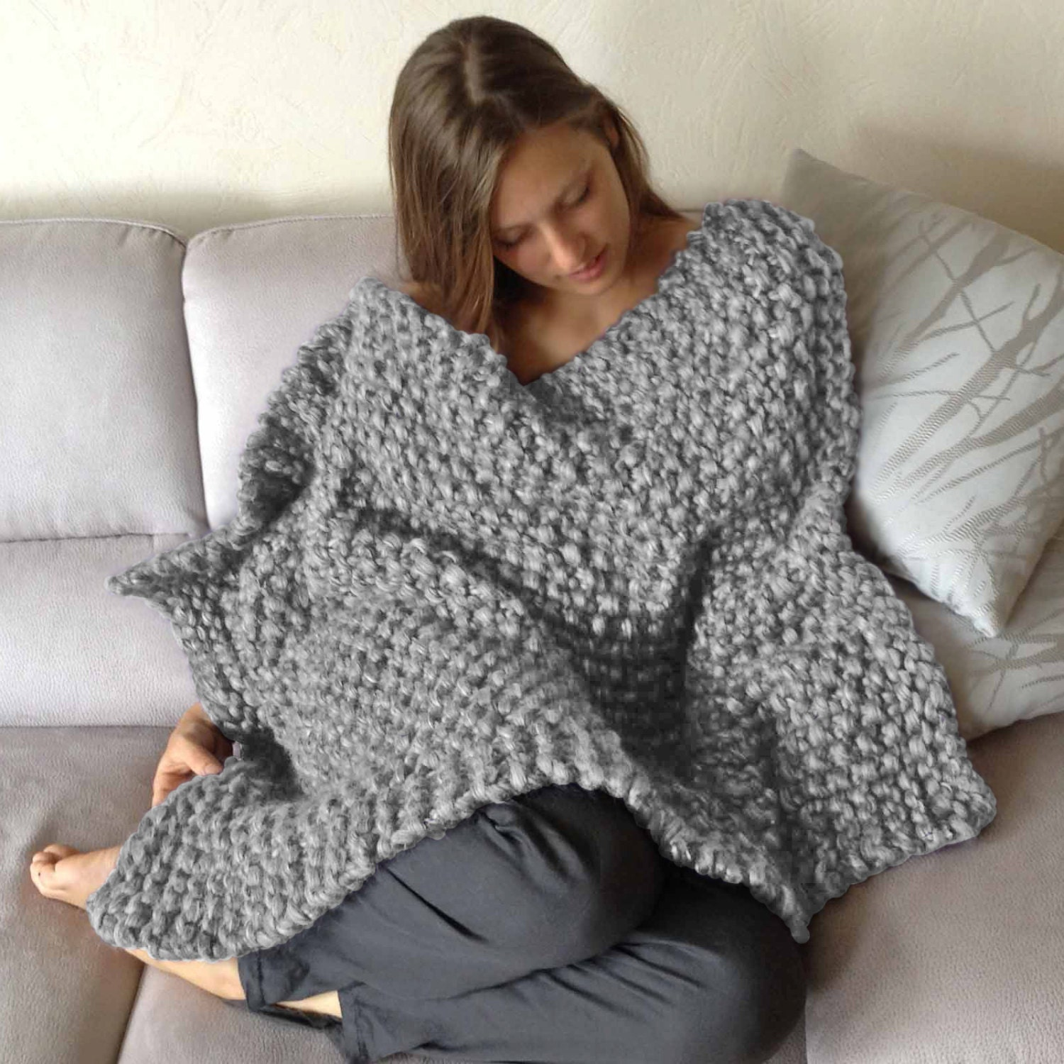 Knitting Pattern Wool Kits : Chunky Wool Blanket KNITTING KIT. Super Bulky Merino Tencel