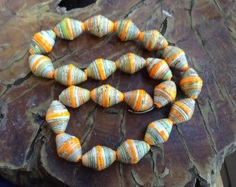 Orange multicolored Paper Beads