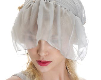 Vintage Silk Nightcap Chiffon Headdress Hair bands Veil Grey Lilac