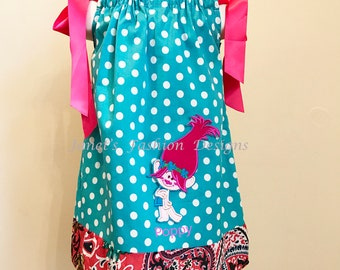 Poppy Troll Embroidery Pillowcase Dress - Aqua Polka Dot Pillowcase - Girls Fashion Personalized Embroidery Dress -  Troll dress