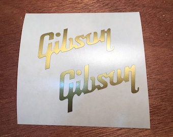 Gibson  Replacement Headstock Decals x2, Gibson Guitar, Gibson Logo, guitar headstock decal stickers, Gibson Les Paul