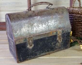 Metal Lunch Box, Metal Pot, Vintage Storage, Rustic Decor, Shop Display, Industrial Lunch Box, Metal Box, Garden, Patio Metal Planter #10-25