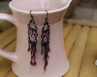 Boho Bronze Earrings, Shabby chic Earrings,Victorian Earrings,Bohemian Hippie Earrings ,Retro Pink Crystal Chandelier Earrings