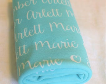 "The ""Ember"" Personalized 29 x 39 inch Baby Name Blanket Any Color"