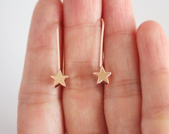 Star bar earrings, geometric earrings, star panel earrings, rose gold plated earrings, earrings gift, star dangle earrings
