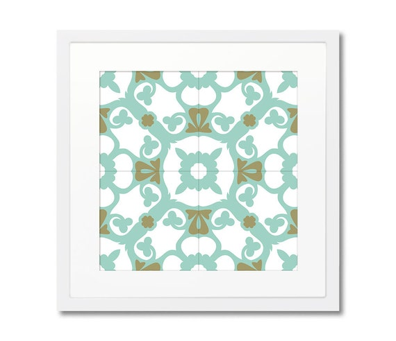 Barcelona Tiles, Framed Print, Graphic Print, Modernist Style, Wall Decorating, Interior Designer, Modern Print