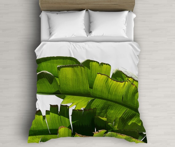 Banana Leaf Duvet Covers Tropical Bedding Illustration Art