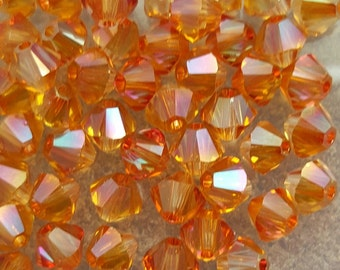 Swarovski 4mm Bicone Faceted Crystal Beads - TOPAZ AB - Select 10, 20, 50 or 100 Beads