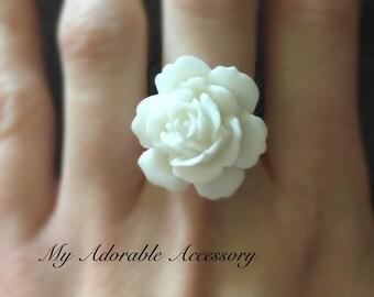 White Rose/Flower Adjustable Ring