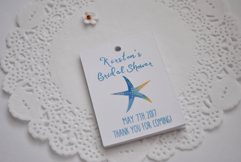 Bridal Shower Gift Destination Wedding : Starfish Bridal Shower Favor Tags Destination Wedding Bridal