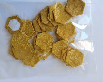GOLD, pre covered hexagons for english paper piecing, pack of 30, hexagons, pre basted hexagons, EPP, patchwork,