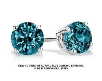 0.85 Carat VS2 (clarity) Genuine Blue Diamond Stud Earrings in 14K Gold (video Link of actual earrings in listing)
