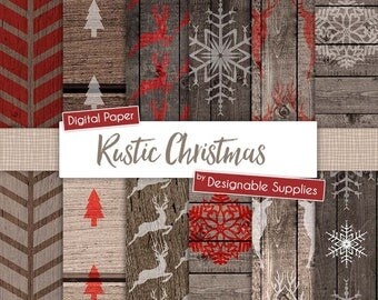 Digital Christmas paper in Rustic Red and White with wood background, 12x12, JPEG, 300DPI, Instant Download