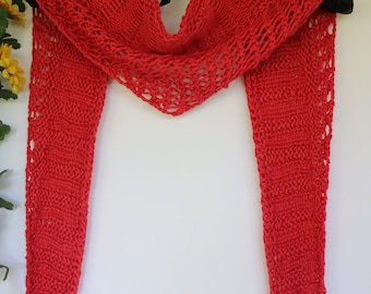 Rose red lightweight triangle scarf, cotton spring and summer scarf, petite openwork scarf, kerchief style scarf