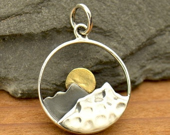 Sterling Silver Mountain Range Charm with Bronze Sun