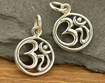 Sterling Silver Small Round Om Charm