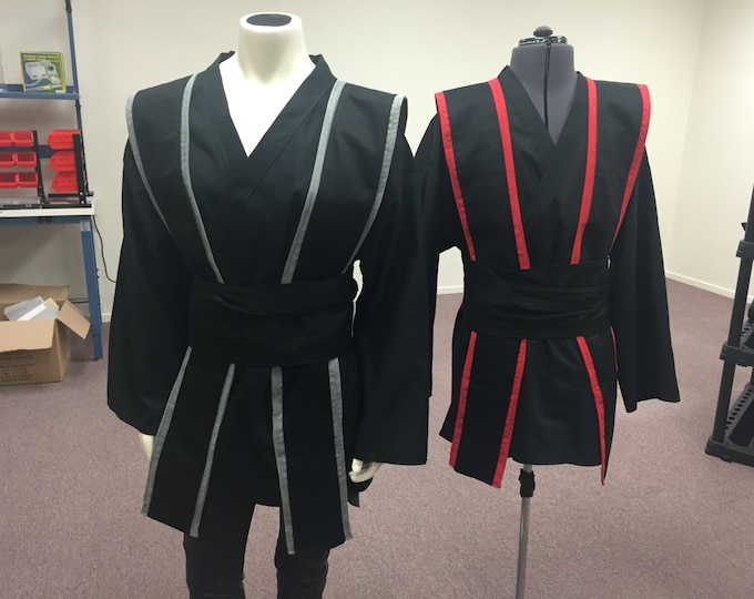 Grey or Red Trimmed Jedi Star Wars Inspired Sith/jedi Tunic, Tabards , Obi set (MAde to Order)