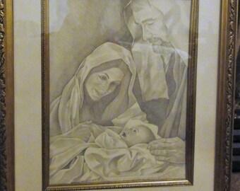 Vintage 1991 Baby Jesus/Mary/Joseph/Paula Beck Print/Numbered