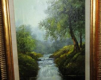 Vintage oil on Canvas/ Stream/ Trees/ Signed K. Wilson