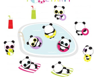 20% OFF POOL Party Clipart, Summer Party Clipart, Summer Clipart, Kawaii Panda, Cute Panda clipart, Panda Digital Stickers