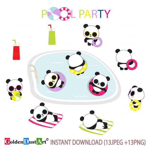 20% OFF POOL Party Clipart, Summer Party Clipart, Summer ...