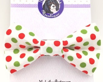 Christmas / Dog Bow Tie / Dog Bow / Bow Tie / Holiday Bow Tie / Red and Green / Polka Dot / Winter / Christmas Bow Tie / Holiday Bow Tie