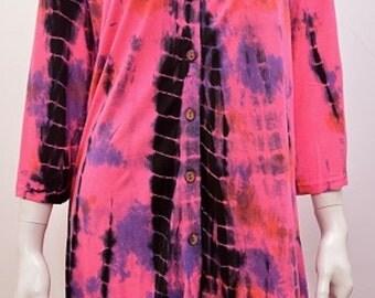 Plus Size Hippie Boho Tie Dye Hanky Hem Tunic Top Pink Freesize 18 20 22 24 26 28 30