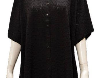 Plus size round neck cut work button down short sleeved tunic Black 16 18 20 22 24