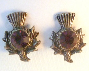 Vintage Dainty Scottish Thistle Clip On Earrings.