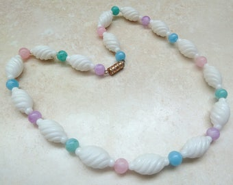 Vintage White Spiral And Pastel Bead Necklace