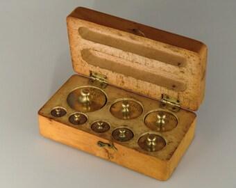 Antique brass weights scale set in original retail wooden box