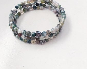 Beaded wrap bracelet, memory wire bracelet, bangle bracelet, beaded bracelet, wrap bracelet