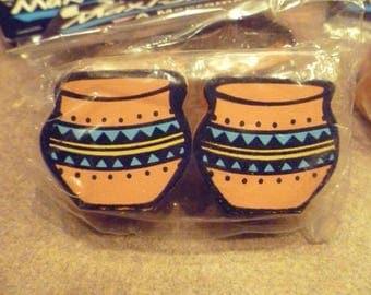 8 Vintage Southwest Pottery Plant Pot Wooden Macrame Beads