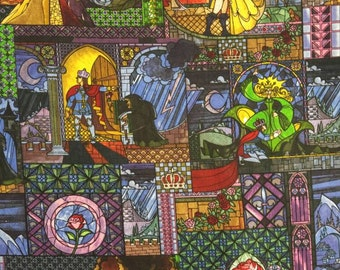 Disney Classic Beauty and the Beast Stained Glass Cotton Fabric BTY