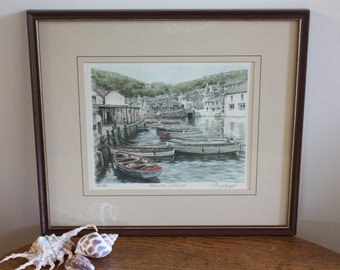 Vintage Signed Print of Watercolour Painting ~ Framed Limited Edition ~ Polperro Cornwall ~ English Harbourside Port Boats ~ Coastal Decor