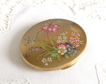 Beautiful Vintage KIGU Compact Painted Flowers Gold-Colour Metal Oval Shape