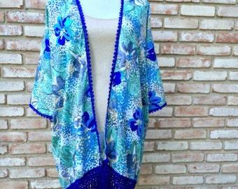 Bohemian Blue, Boho Kimono, Kimono Cardigan, Fringed Kimono, Beachwear Swim Cover, Mother of the Bride, Mother's Day, Kimonos, Kimono Duster