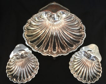 Shell Tray/Nut Trio Silverplate on Copper