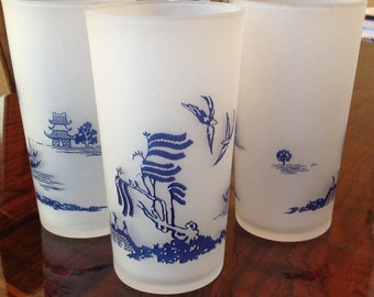 Blue Willow Pattern Frosted Drinking Glasses---Set of 8