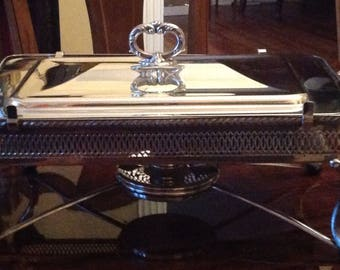 Vintage Silver Plate Covered Chafing Dish with Burner