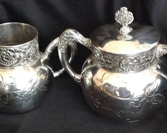 Victorian Silver Plate Cream and Sugar Bowl