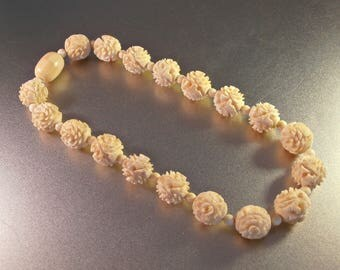 Deeply Carved Art Deco Necklace, Chinese Export, Large 18mm Flower Beads