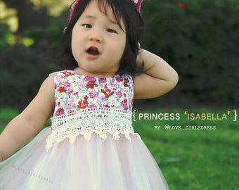 Pretty Isabella Tulle Floral Dress , baby spring dress, baby summer dress, tulle dress, 12m, 24m, 2T, 6-9m
