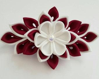 kanzashi barrette clip, wine red and white hair clips, wedding hair clip, hair accessories, wedding accessories, flower hair clip