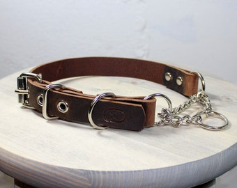 Heavy Duty Leather Adjustable Martingale Chain Dog Collar