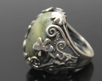 GIFT IDEA !! IRELAND Dublin Genuine Connemara Marble Open Leaves Design 4 Leaf Clover Shamrock Lucky Charm Solid Sterling Silver Ring sz 7.5