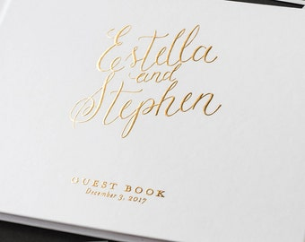 Wedding Guest Book Wedding GuestBook Wedding Journal Custom Guest Book - Little Carabao Studio - #PC104F
